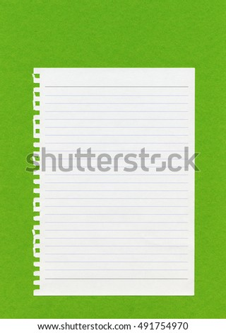 Notebook on green paper