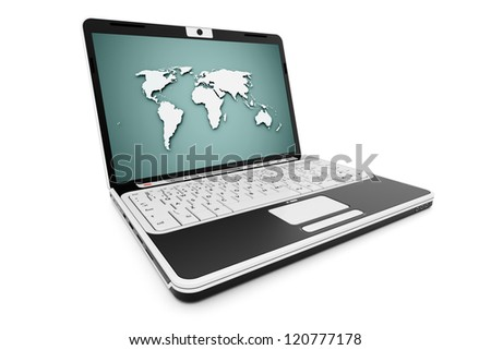 Notebook on world on screen isolated on white background - stock photo