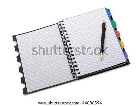 Notebook - organizer with the stylish pen.Color bookmarks. It is isolated on a white background - stock photo