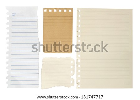 notebook paper  isolated on white background.