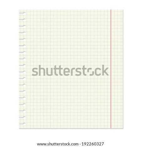 Notebook paper isolated on white. Raster copy.