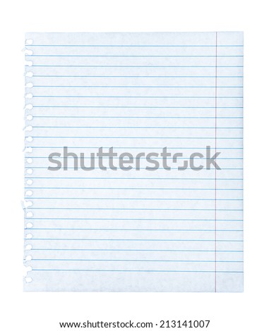 Notebook paper on an isolated white background