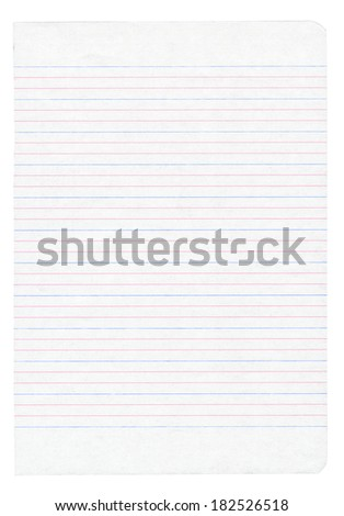 Notebook paper with colorful lines isolated on pure white background - stock photo