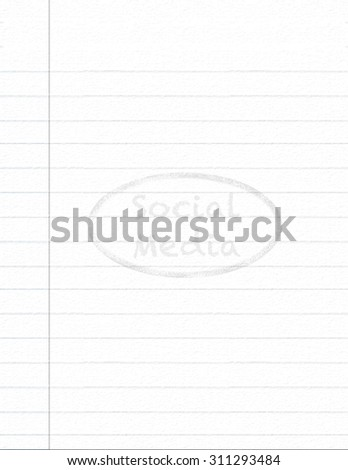 Notebook paper with Social Media watermark background - stock photo