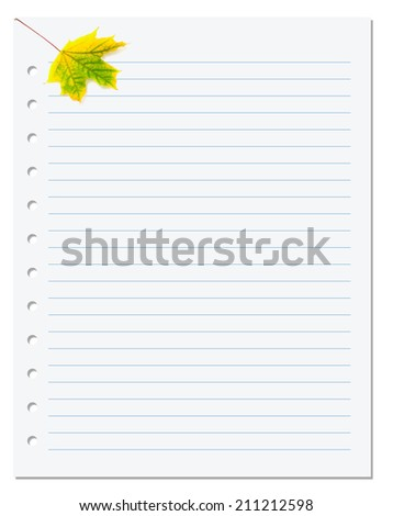 Notebook paper with yellow autumn maple leaf on white. Back to school background