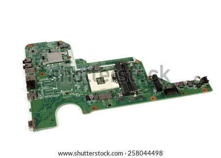 Notebook pc motherboard on white background - stock photo