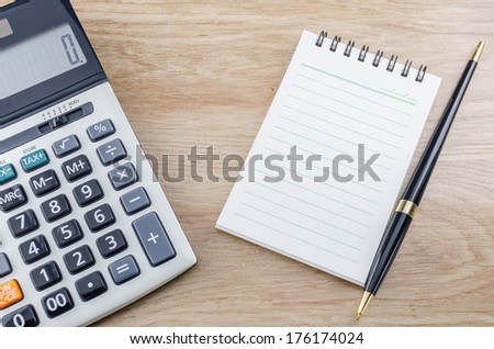 Notebook Pen And Calculator