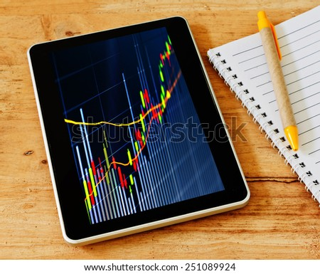 Notebook, pen and tablet pc on wood table background. Business concept. - stock photo