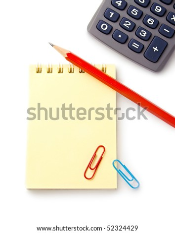 Notebook, pencil and calculator on white background