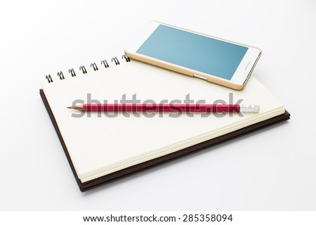 Notebook, phone and pencil isolated on white background. - stock photo