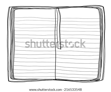 notebook red cover painting vintage line art - stock photo