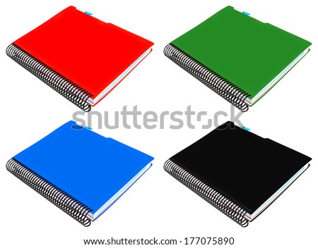 notebook (red, green, blue, black) with spiral isolated on white background - stock photo
