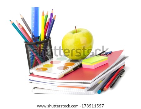 Notebook stack and pencils. Schoolchild and student studies accessories. Back to school concept.