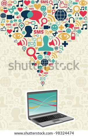 Notebook under social media icons on light texture background. - stock photo