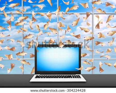 Notebook  with blank screen and flying euro banknotes - stock photo