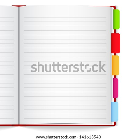 Notebook with bookmarks - stock photo