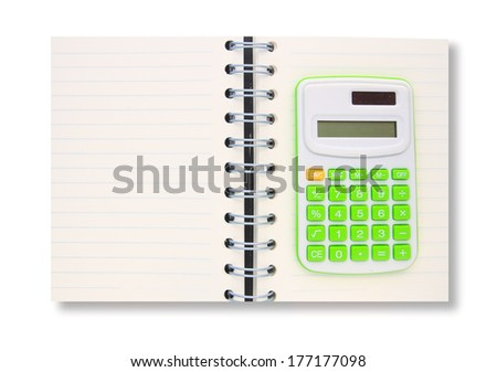 notebook with calculator isolated on white