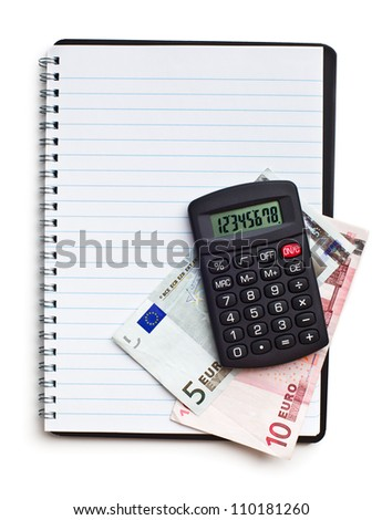 notebook with euro money and calculator on white background
