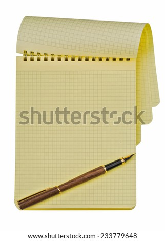 notebook with ink pen isolated on white background - stock photo