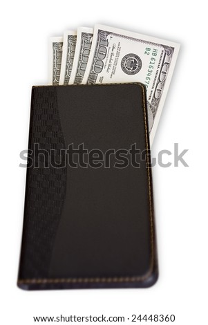 Notebook with money on white background.