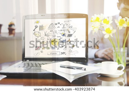 notebook with notepad and pen on it  in office - stock photo