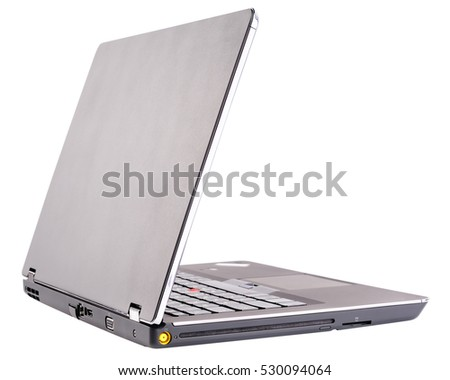 Notebook with open cover, rear view, isolated on the white background