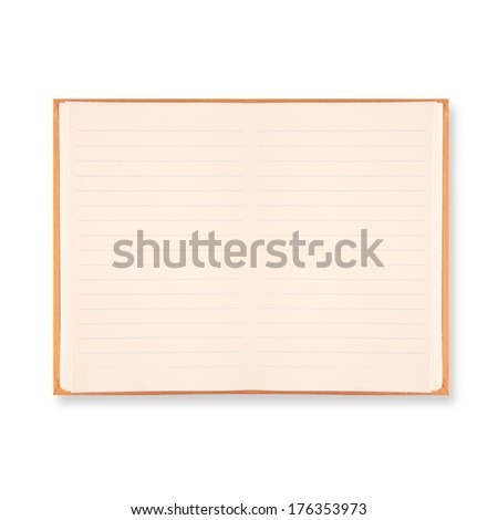 notebook with orange border isolated on white