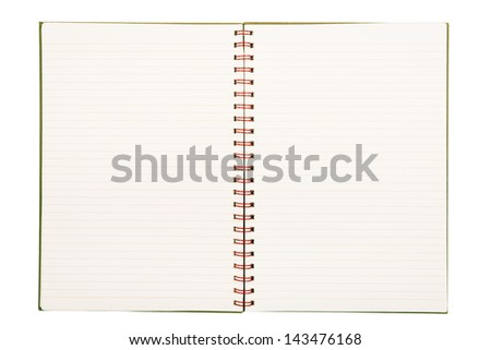 Notebook with pale lined paper and red metal binding isolated on white background - stock photo