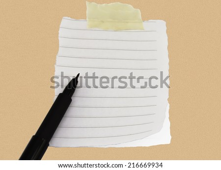 notebook with pen for notes  reminder sticky note on cork board