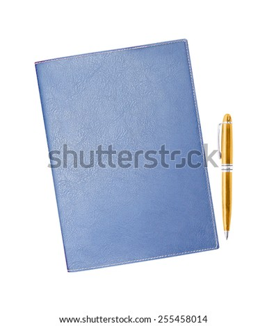 notebook with pen isolated on white background - stock photo