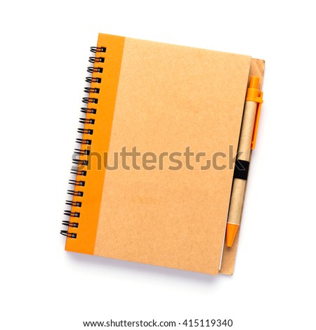 notebook with pen isolated on white,top view