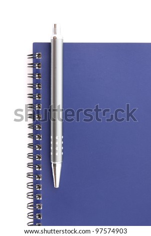 notebook with pen on white background