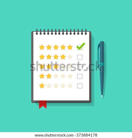 Notebook with rating stars and pen illustration, concept of satisfaction feedback, customer reviews, rating service, testimonials, voting, quality control modern flat design isolated on green image - stock photo