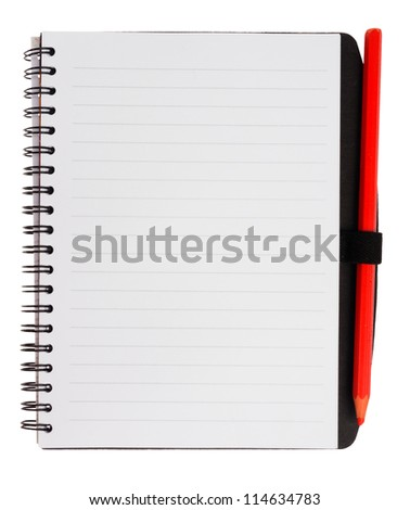 Notebook with red pencil, isolated on background