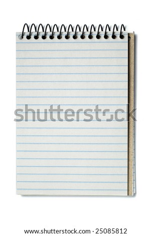 Notebook with striped paper, binder and empty page for your design or text isolated on white background. - stock photo