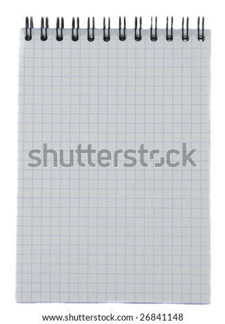Notebook with striped paper, binder and empty page for your text isolated on white background.