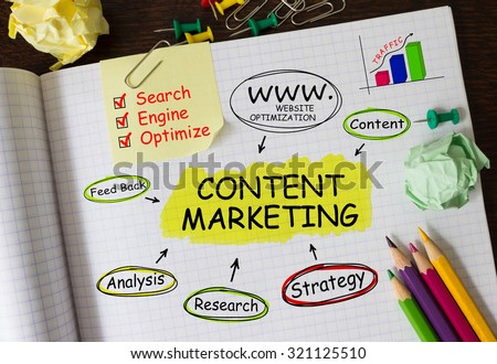 Notebook with Tools and Notes About Content Marketing - stock photo