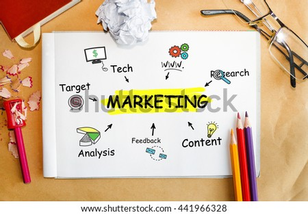 Notebook with Tools and Notes About Marketing - stock photo