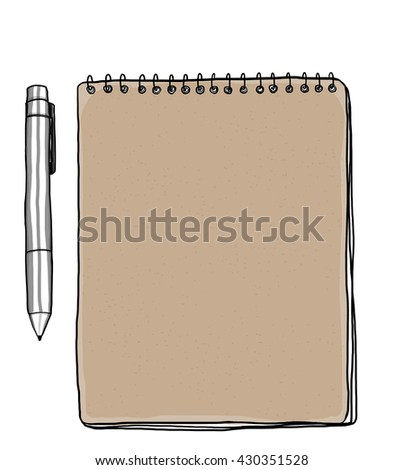 Notebooks and pen, vintage Brown illustration cute art  - stock photo