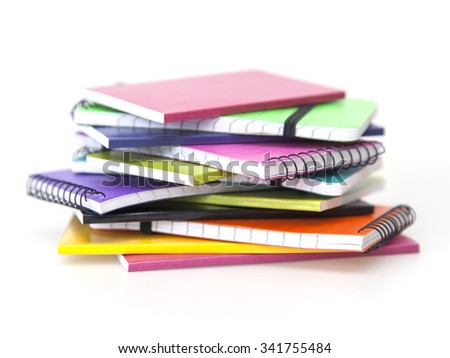 Notebooks of various colors
