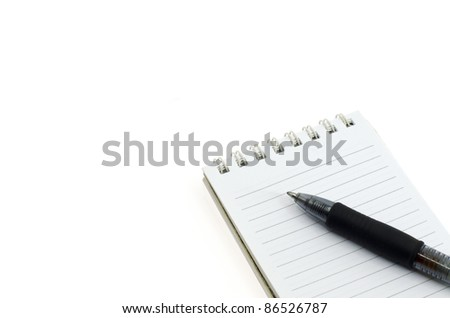 notepad and black pen isolated on white background - stock photo