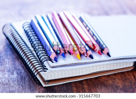 notepad and color pencils