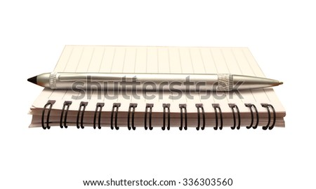 Notepad and pen isolated for writing a note, journal or making a list - stock photo