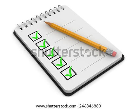 Notepad Checklist (clipping path included) - stock photo