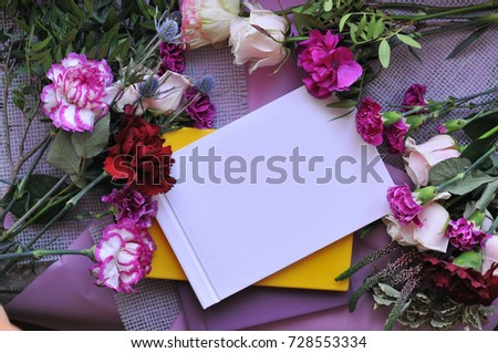 Notepad for a girl in a beautiful flowers. Clouse-up