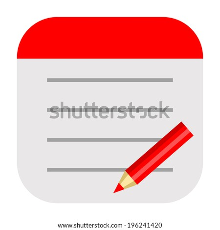 Notepad icon for writing daily notes, tasks, lists or drawing ideas - stock photo