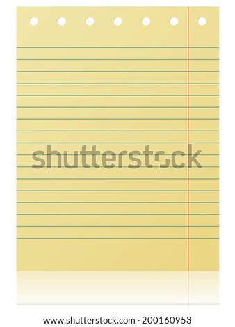 Notepad lined yellow page isolated on white background.