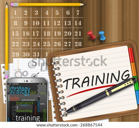 Notepad, office desk, training management concept - stock photo