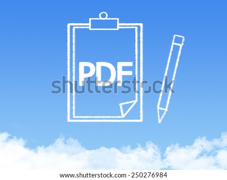 Notepad paper document cloud shape - stock photo