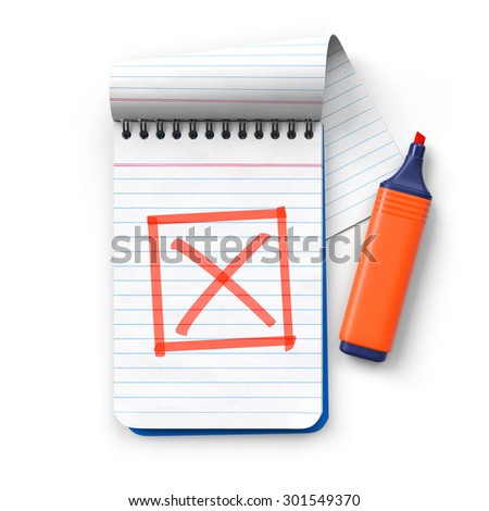 Notepad with orange highlighter and framed check mark.Cross.Realistic 3D rendering.Isolated on white background.Top view. - stock photo
